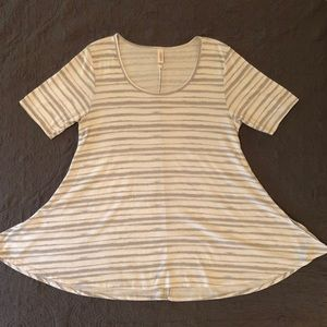LulaRoe Perfect Tee grey & white stripes Size L